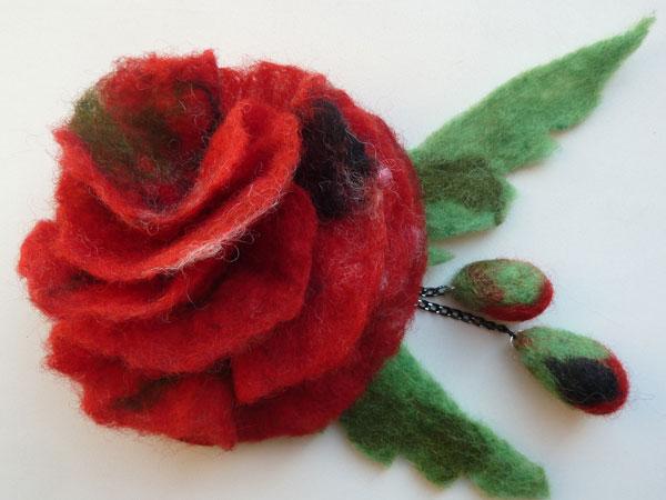 брошка цветок валяный из шерсти ручной работы